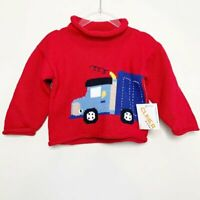 NWT Claver Boys Red Roll Neck Cuff Long Sleeve Pullover Sweater Size 12 M