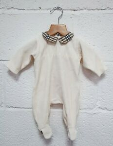 Burberry Baby Cream Plush Velvet Jumpsuit 3 Months All In One Baby Clothing