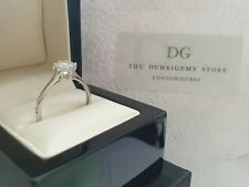 9ct white gold created diamond solitaire ring size Q free postage