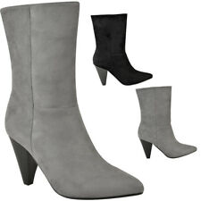 Womens Ladies Pull On Ankle Calf Boots Cone Block High Heels Celeb Oversize Size