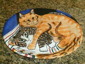 LARGE Cats By Nina Lyman 18.25 X 14.5 Tray  Platter CALICO & TIGER CAT