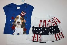 JUSTICE & CHILDREN PLACE 4th of July Sparkle Girls Outfit Set Top Skirt  Sz. 7