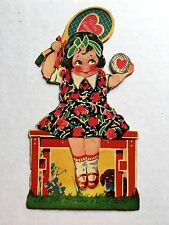 1930s Mechanical Valentine's Day Card Tennis Player Girl - A Love Game