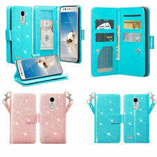 LG Phoenix 4 Case / Phoenix 3 Case Glitter Bling Magnetic Leather Wallet Cover