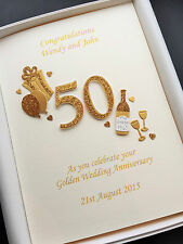 PERSONALISED 50TH ANNIVERSARY CARD GOLDEN WEDDING Handmade gift boxed luxury