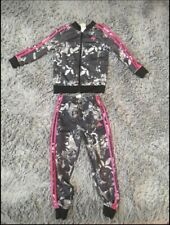 Adidas Girls 2 Pc. Floral Print Track Suit Full Zip Jacket Pants Size 6X