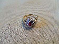 Estate Natural Ruby & Diamond 10K Yellow Gold vintage Ring Sz 6 fine jewelry