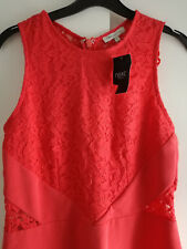 NEW NEXT Coral Bodycon Lace Applique Dress Size 12 Prom Party Occasion
