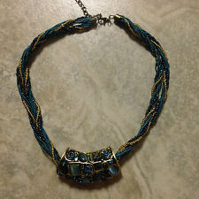 Vintage Bohemian blue opal cateye Pendant necklace bead chain holiday gift