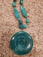 Green Agate Sun Moon Carved Necklace  Round Pendant