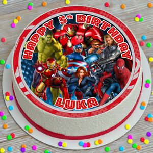 AVENGERS ASSEMBLE PERSONALISED PRECUT EDIBLE ICING SHEET 7.5 INCH CAKE TOPPER G