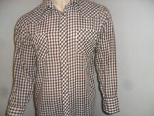 vtg SEARS WESTERN SHIRT Brown Tablecloth Check 70s 80s