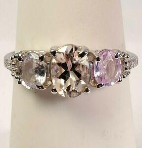 10k White Gold, Morganite, Sapphire Ring 1.8g. Signed GSK. Size 5.50 (B00302021)