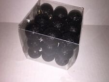 27 Christmas Holiday Plastic Mini Ball Ornaments Black Glitter