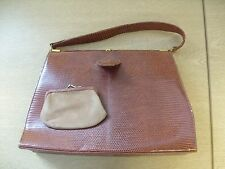 """Ladies Handbag brown textured leather (lizzard?), size 12x9x3"""", with purse 3200"""