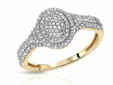 Cluster Natural Round Yellow Gold Fine Diamond Rings