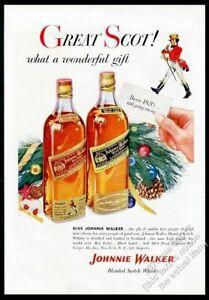 1955 Johnnie Walker Noir Rouge Scotch Whisky Noël Vintage Imprimé Annonce