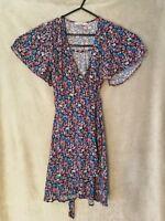Miss Selfridge petite pretty floral wrap dress v neck autumn causual size 6
