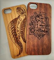 Genuine Laser Carved Real Wood Case Harry Potter iPhone Samsung Huawei Pixel