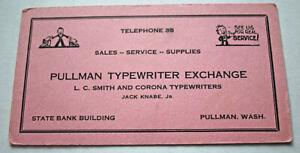 Vintage Typewriter Exchange Pullman Washington Advertising Ink Blotter Card