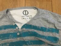 Tom Wolfe grey blue striped jumper used vgc size XXL