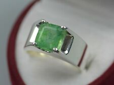 Natural Afghani Emerald Sterling Silver 925 Handmade Panjsher Zamurd Mens Ring