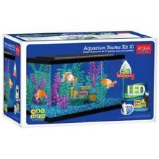 10 Gallon Aquarium Kit Set Fish Tank Led Light Hood Filter Clear Fresh Water New