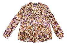 Jones New York 14W Sheer Multi Color Animal Print Long Sleeve Pullover Blouse