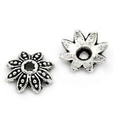 "200PCs Metal Bead Caps Flower Silver Tone 8mmx8mm(3/8""x3/8"")"