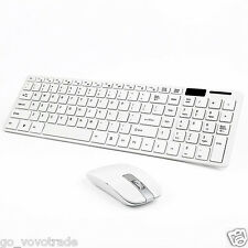 White Wireless 2.4GHz Gaming Keyboard and Mouse Combo Set Power Saving Stylish