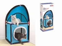 Pet-Parade-Two-Tier-Durable-And-Easy-To-Assemble-Cat-Corner-Tower-Blue  Pet-Par