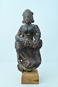 Antique Original Fine Hand Carved Wooden Angel Doll Figurine Painted NH6686