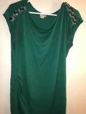 MOTHERHOOD MATERNITY SLEEVELESS GREEN BLOUSE SIZE  XL WITH BLING ON SHOULDERS