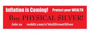 WallStreetSilver Silver Squeeze Reddit Buy Silver Bumper Sticker (10 PACK)