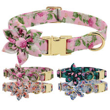 Fancy Flower Studded Dog Nylon Collars Heavy Duty Gold Metal Buckle Small Large