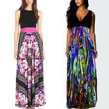 Women Floral Sleeveless Maxi Dress Ladies Long Party Dress Size 8 10 12 14 16 18