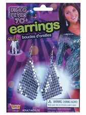 Disco Fever Earrings silver glomesh mesh 70s costume jewellery accessory 74520