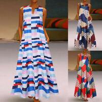 Women Sleeveless Bohemia Long Maxi Shirt Dress Summer Beach Party Sundress Plus