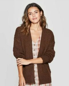 Universal Thread Women's Honeycomb Long Sleeve Open Layering Sweater Brown Small