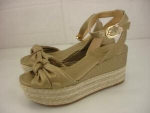 Women's 8.5 M Michael Kors Maxwell Wedge Canvas Leather Sandals Gold Espadrilles