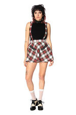 White Red Tartan Gothic Rockabilly High Life Pinafore Mini Skirt BANNED Apparel