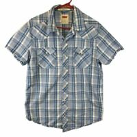 Levis Mens Modern Fit Short Sleeve Pocket Collared Plaid Blue White Shirt Size L