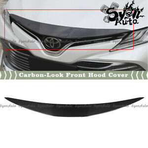 FITS 18-2020 TOYOTA CAMRY CARBON-LOOK FRONT BUMPER HOOD GRILL TRIM COVER GARNISH