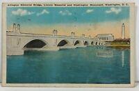 Washington DC Arlington Memorial Bridge Lincoln Memorial Postcard Vintage 1933
