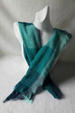 Shades of Blue Wool & Silk Scarf  (Price Reduced)