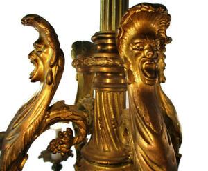 Antique Gothic Castle Chandelier Bronze Doré Gold Gilded Bacchus Grapes Stunning