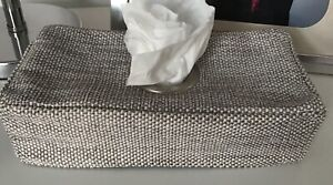 STONE COLOUR TEXTURED FABRIC OBLONG KLEENEX TISSUE BOX COVER METAL OPENING