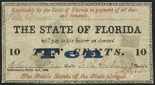 Fl-15 10¢ State Of Florida Feb 2,1863 Typeset Black Red & Blue Bt9964
