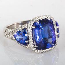 8 Carat Cushion Cut Deep Blue Tanzanite & Diamond Engagement Ring 14k White Gold