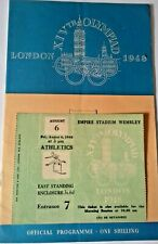 More details for olympic games ticket and programme of events athletics august 6th 1948 wembley.